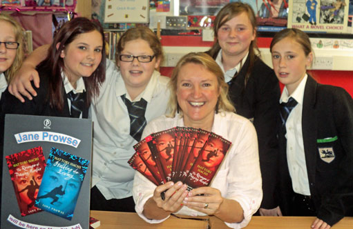 Students from Rock Ferry School with Jane Prowse